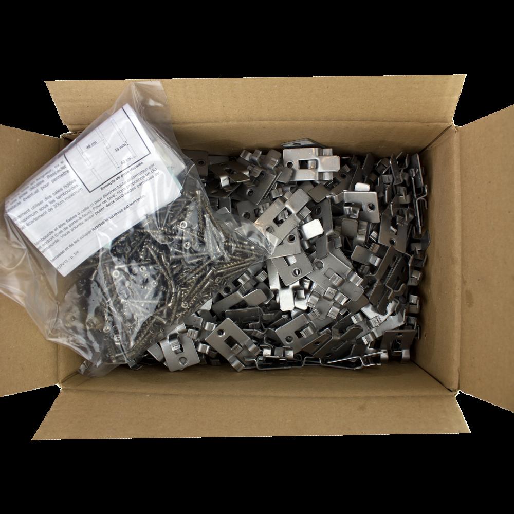 Clip Composite Simple Et Vis Inox - Boîte de 360 pour 20m2