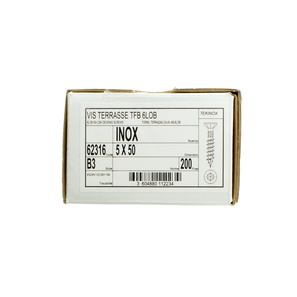 Vis Inox A2 Torx 5/50 (x200 pour 8m2)