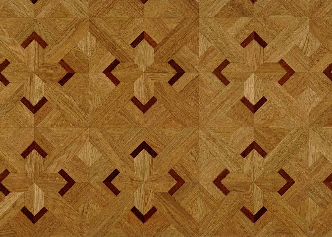 Dalles marqueterie chêne contrecollé décor 1 vernis satiné 14x392x392