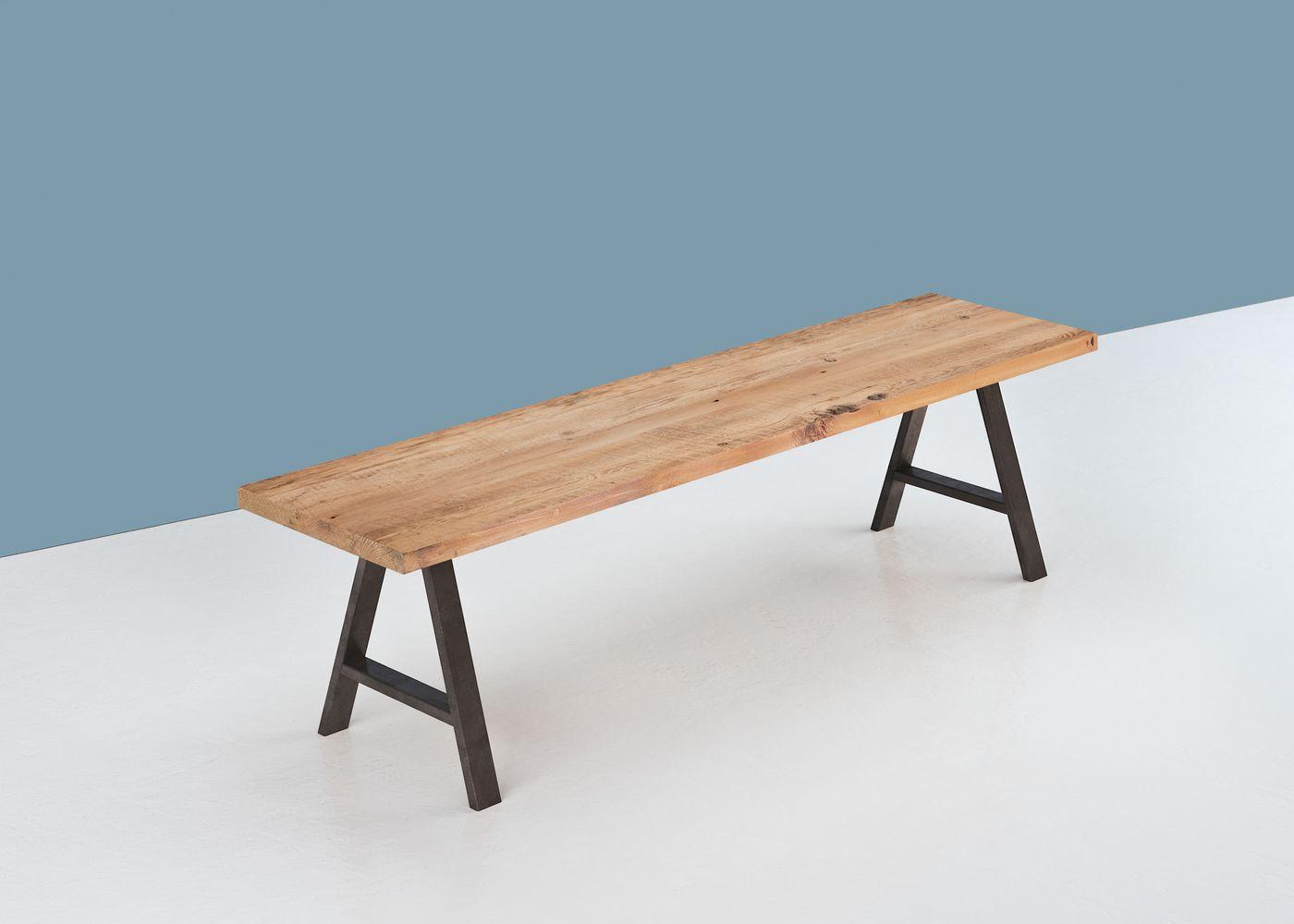 Banc HELSINKI à partir de vieux plancher pin blanc/orme/frêne brut (qualité rustique avec présence de noeuds) - (longueur max 4000mm)