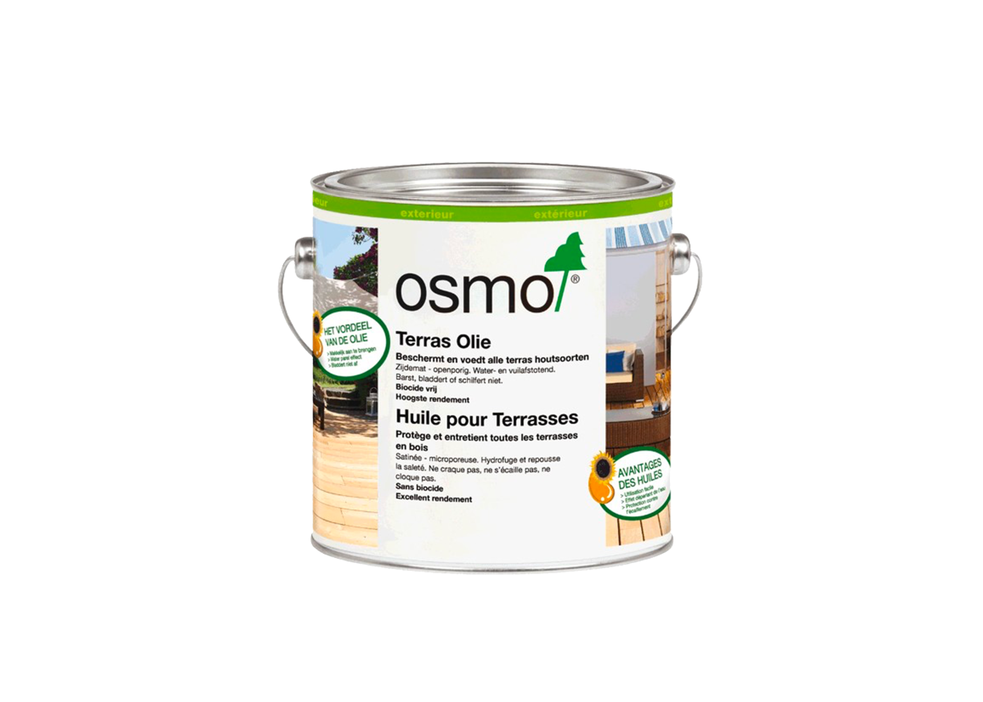 Huile Osmo pour terrasse (aspect teck incolore ) (conso 35m2/bidon pour deux couches) 2,5 L