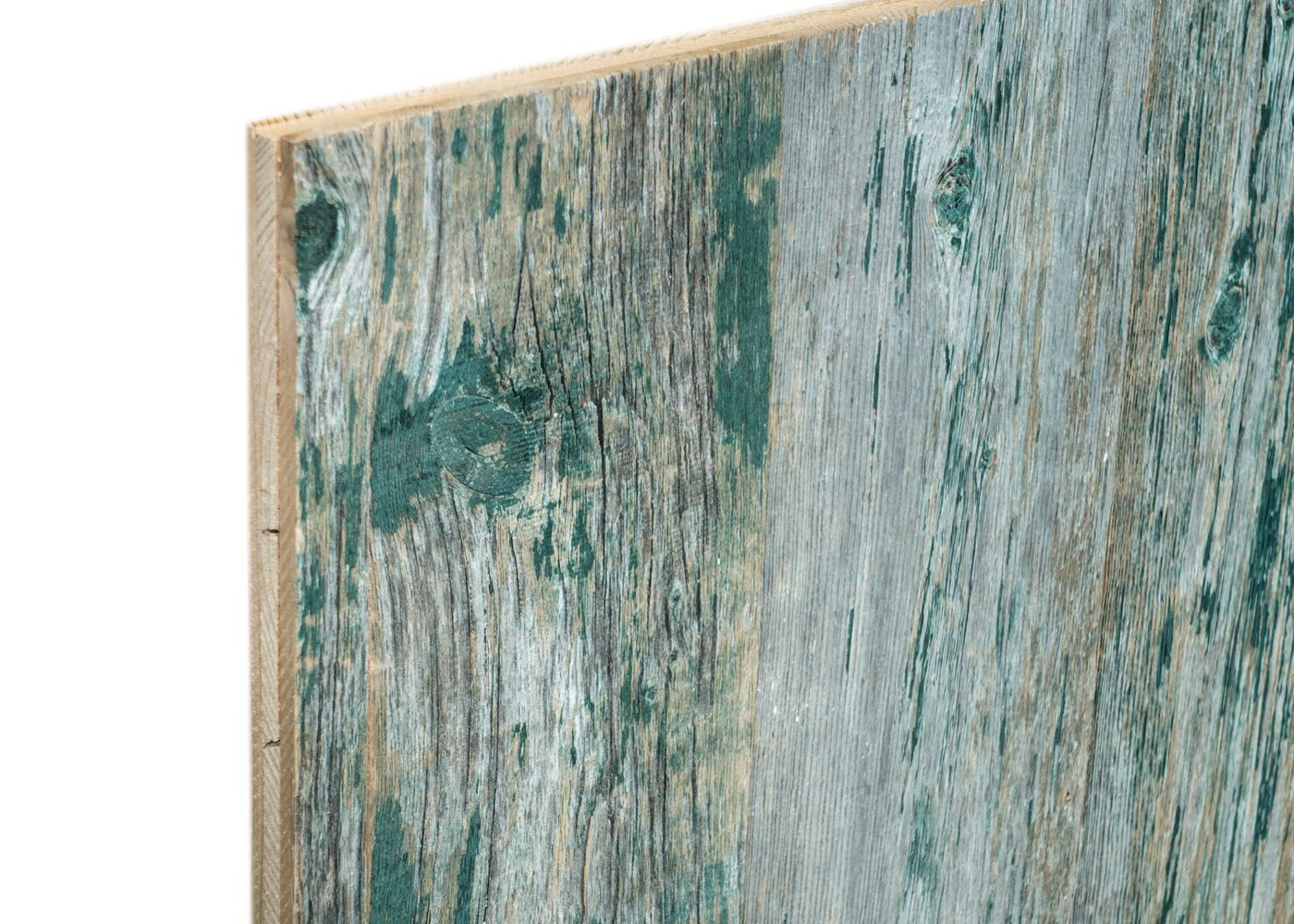 Panneau 3 plis bois us campagne vieilli peinture d'origine (blanc / noir / rouge / vert ) brut - 1 face plaquee - fsc