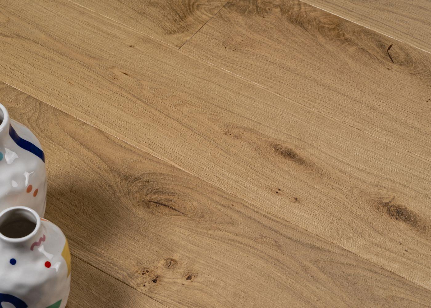 Parquet chêne contrecollé WAGRAM brossé huile UV Matière support HDF 10x122x1190