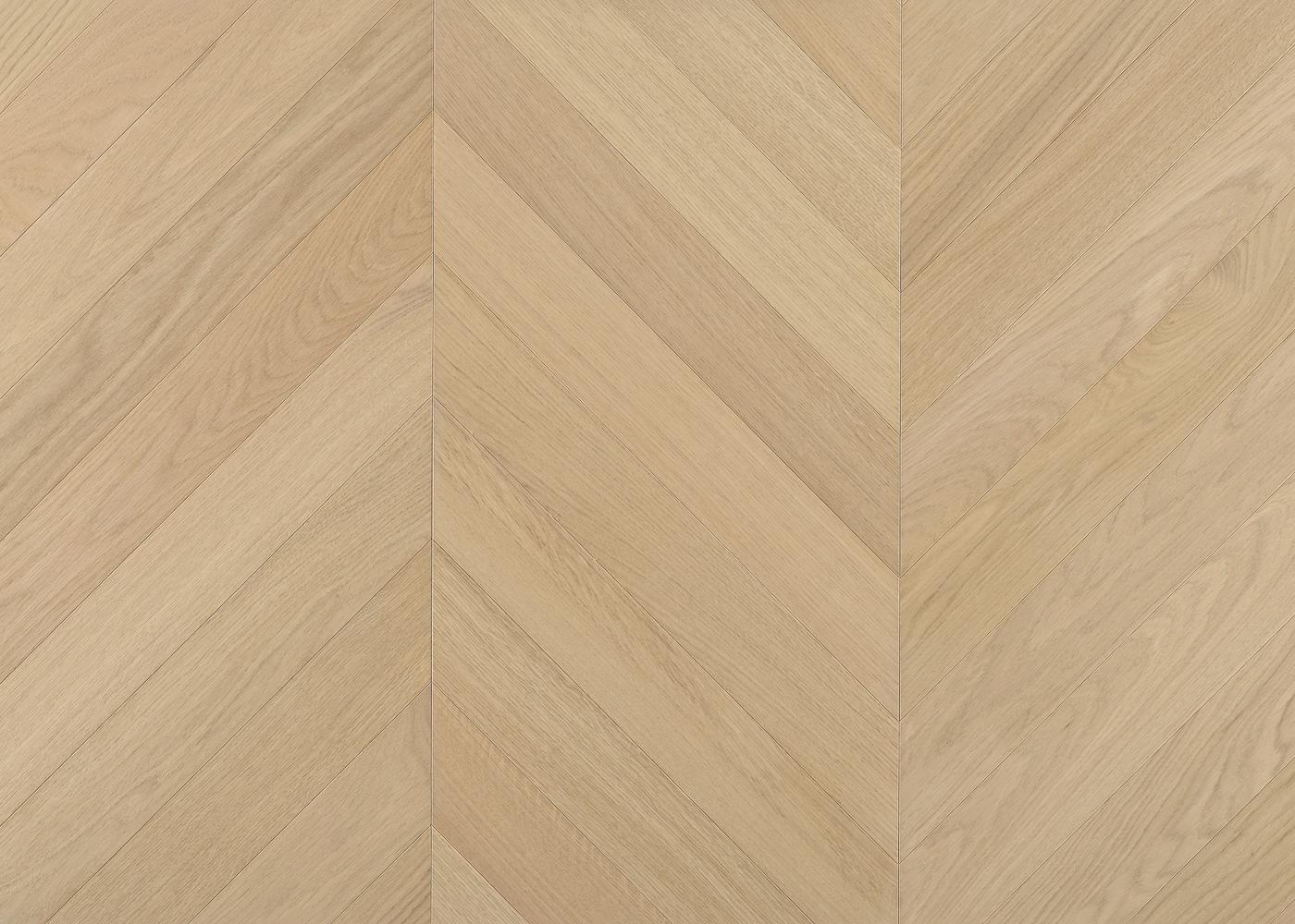 Parquet chêne contrecollé LECCE Point de Hongrie brossé vernis mat Select support HDF angle 45° 10x92x600