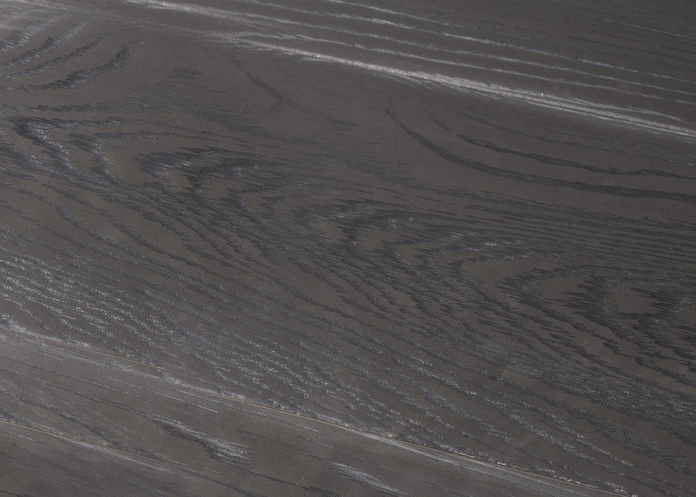 Parquet chêne contrecollé G2 Métal ARGENTE PEFC brossé veinage noir 15x180x1200-2300