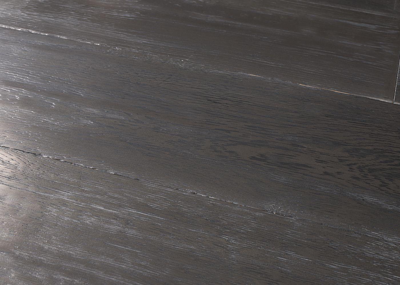 Parquet chêne contrecollé G2 Métal ARGENTE PEFC brossé vieilli veinage noir 15x180x1200-2300