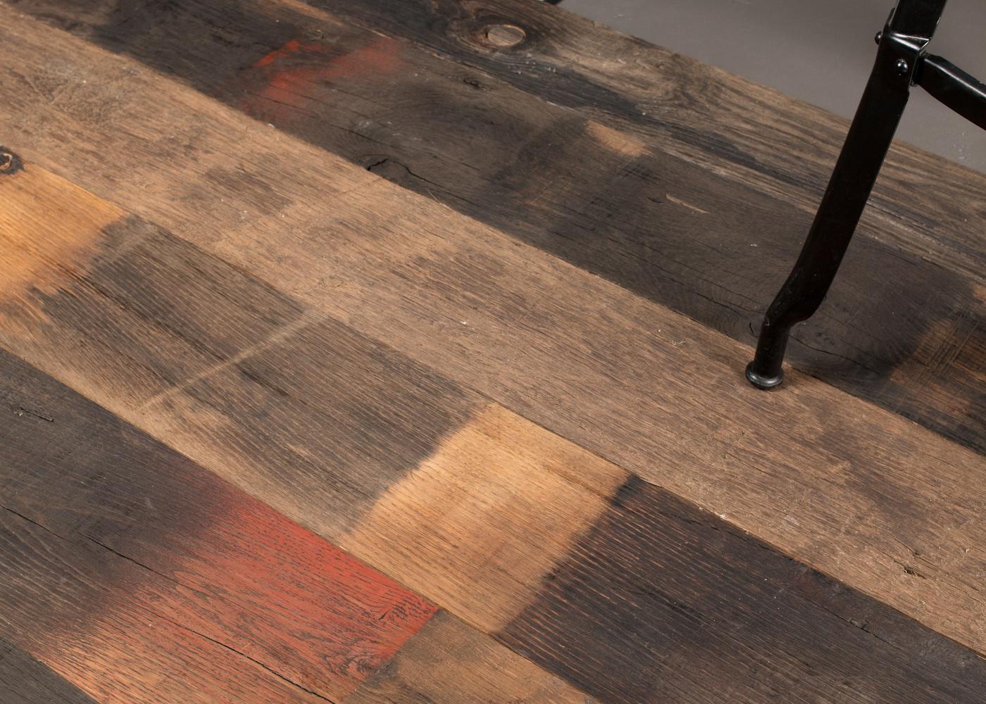 Plancher Massif Chêne Rives Abimées Campagne Vieux Fond De Wagon Atelier Brut