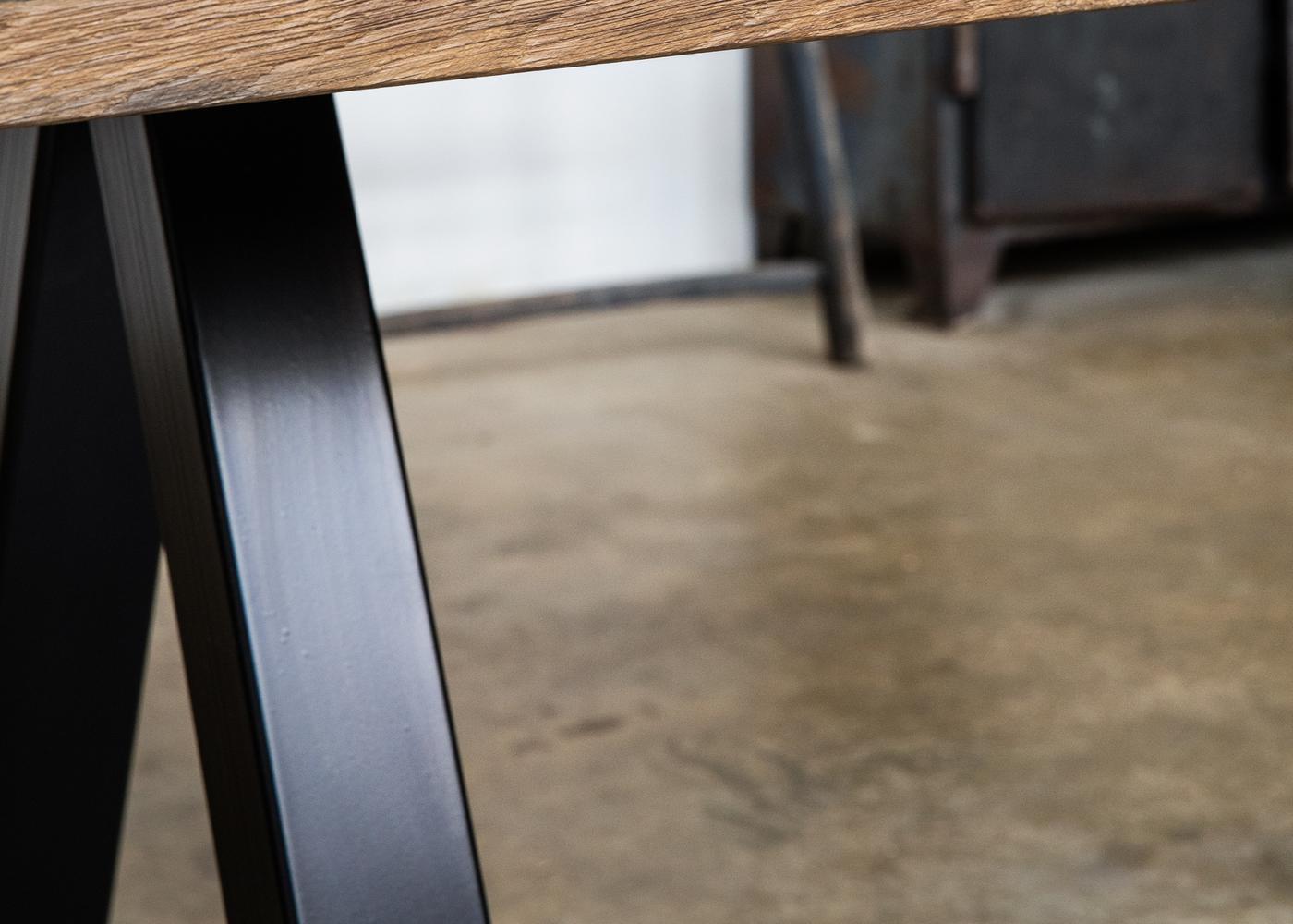 Pied De Table Dolbeau Acier Peinture Epoxy Noir Satine Ral 9005
