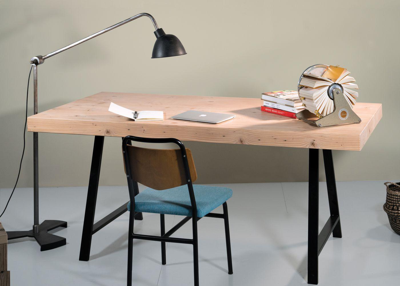 Plateau de table ROTTERDAM à partir de vieilles poutres en sapin brut (qualité rustique avec présence de noeuds et de trous de boulons) - (longueur max 6000mm )