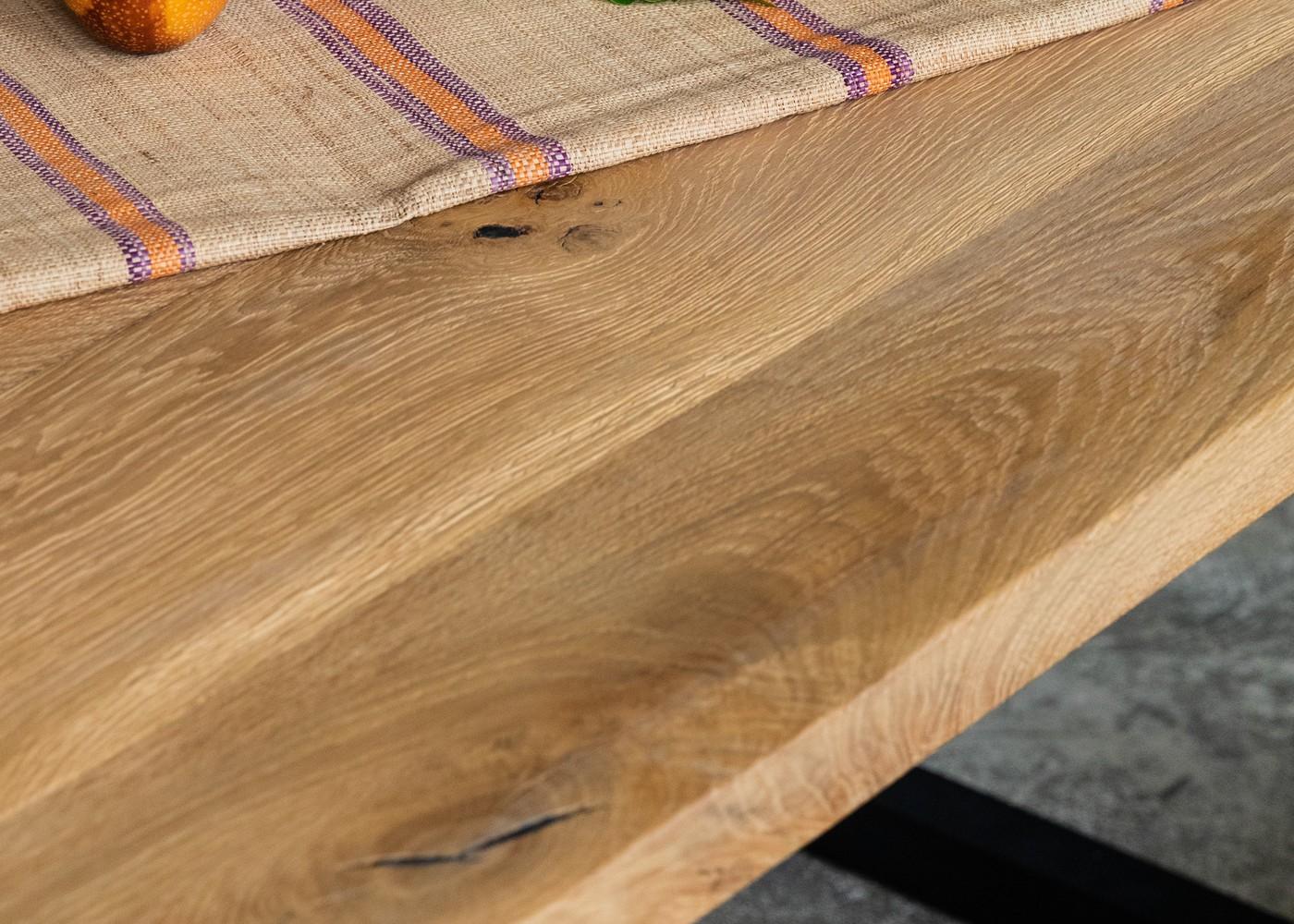 Banc BRUGES à partir de vieux madrier en chêne brut - longueur max: 2700mm