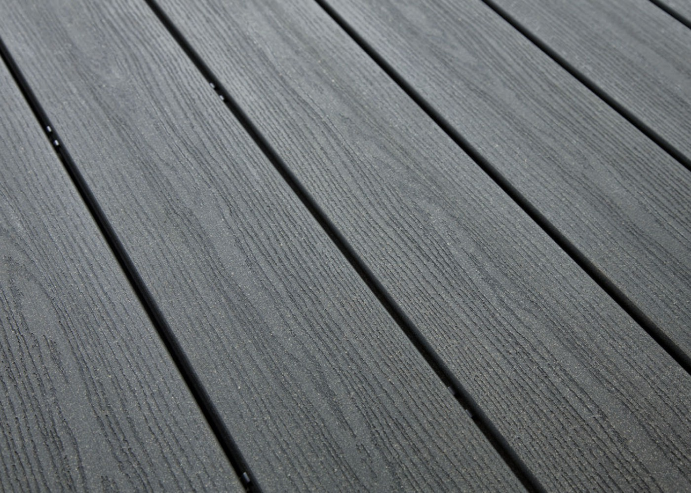 Lame Terrasse Bois Composite Teinte Gris Anthracite Structuré Fixation Invisible - 23/180/4000
