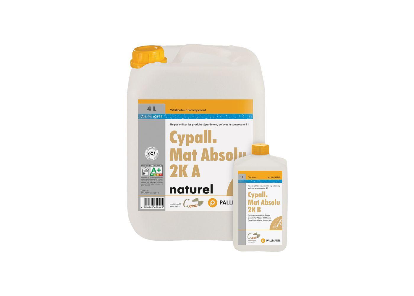 Vernis Mat Absolu 2K bi-composant polyuréthane Cypall Effet Bois Brut Gloss 4 5 + 0,5