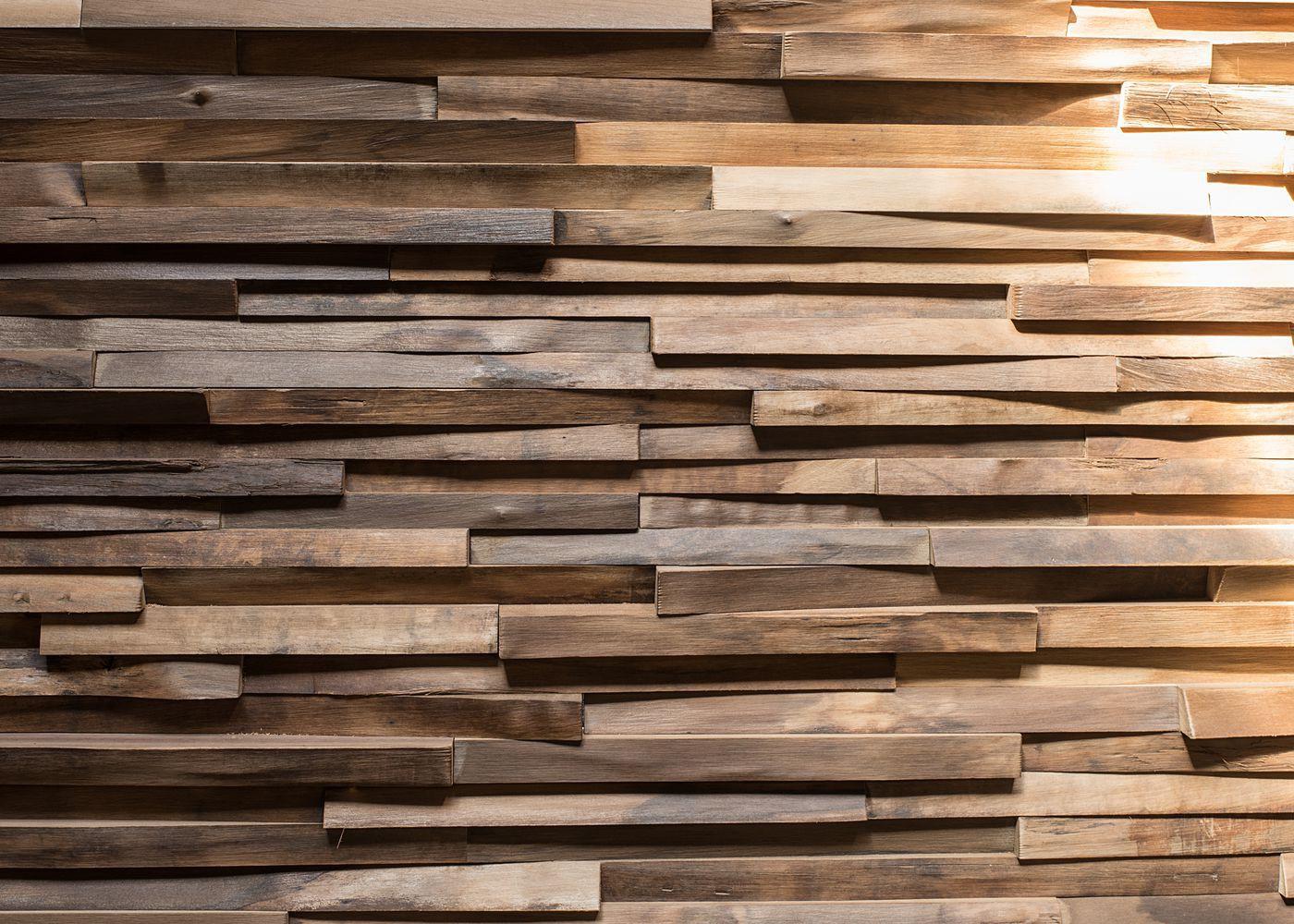 Bardage déstructuré Wood Lab en Noyer étuvé fabriqué à la main avec des résidus de bois
