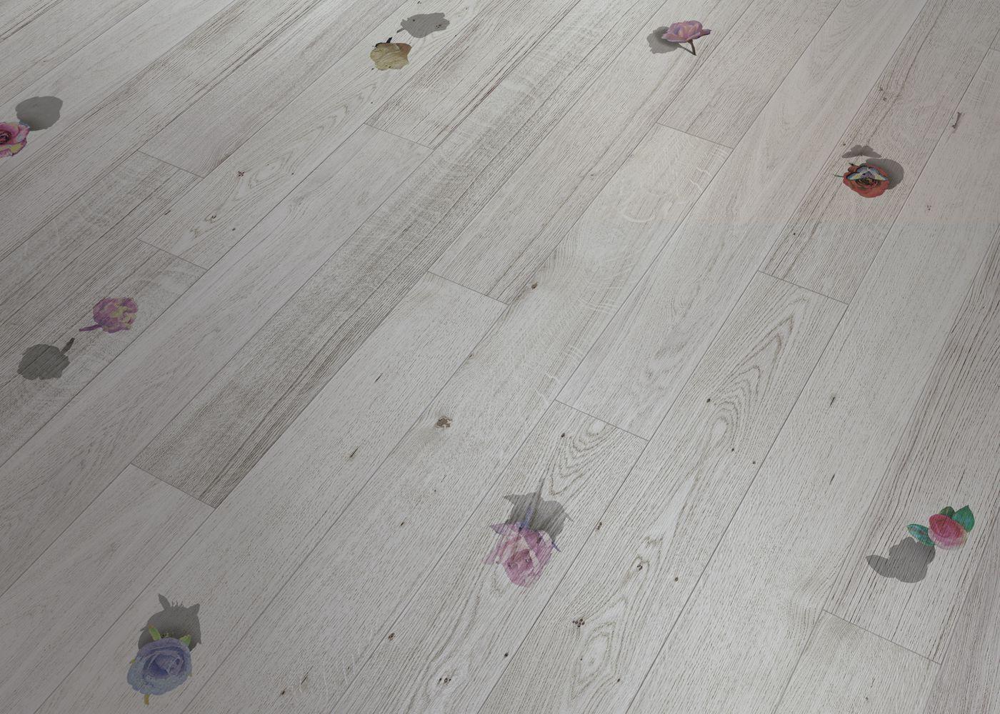 Rosae 2 - Parquet Contrecollé Chêne PR Bis Contemporain Vernis Brossé Mat Teinte Blanche - Design Rosae 2 (Cinzia Anguissola)