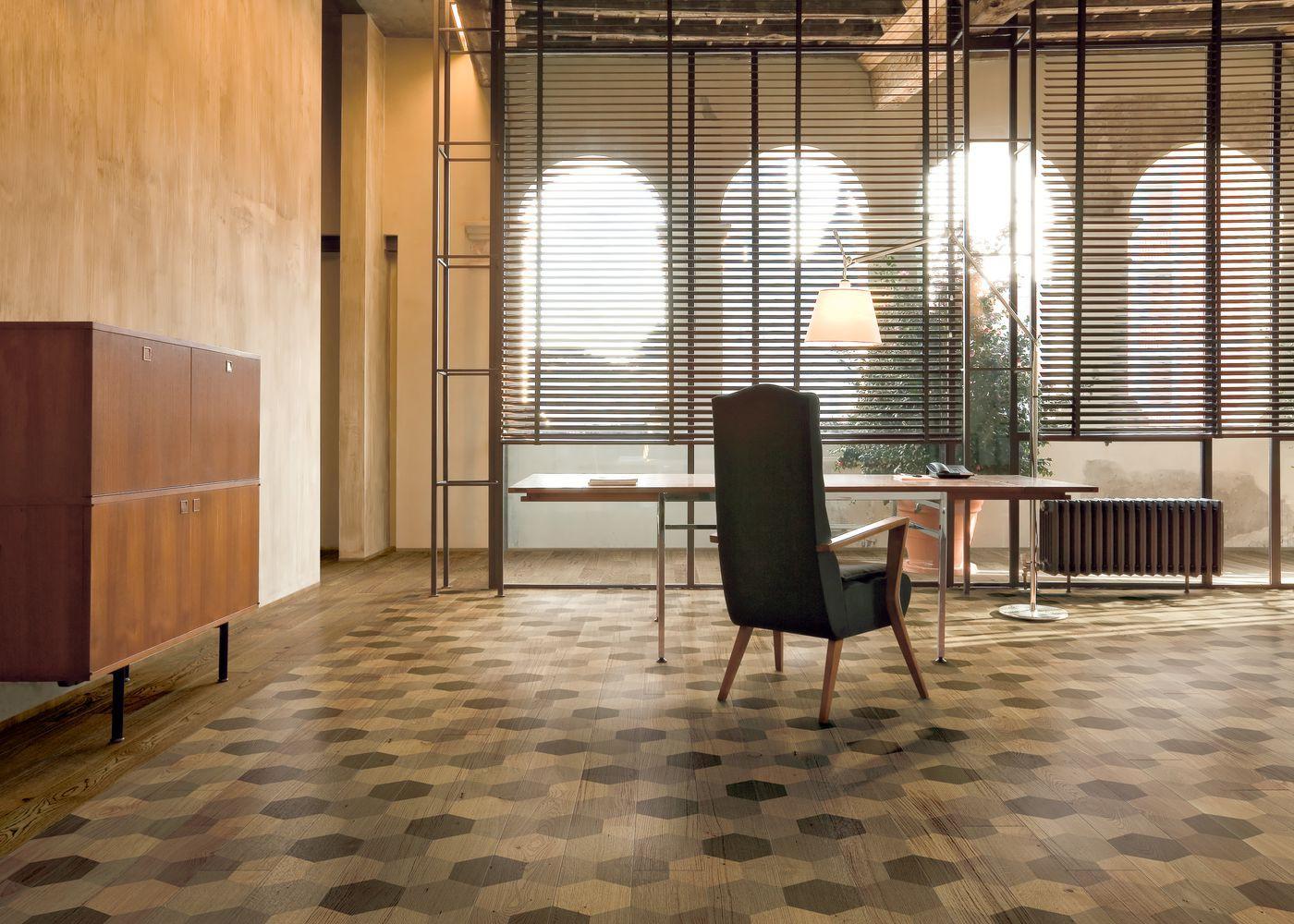 Parquet Contrecollé Monolame Chêne G4 Prbis Contemporain Vernis Brossé Mat Teinte Naturelle (b5)- Design Esagona 4 (alessio Pinto )- Pefc - Fsc 13x150x1500