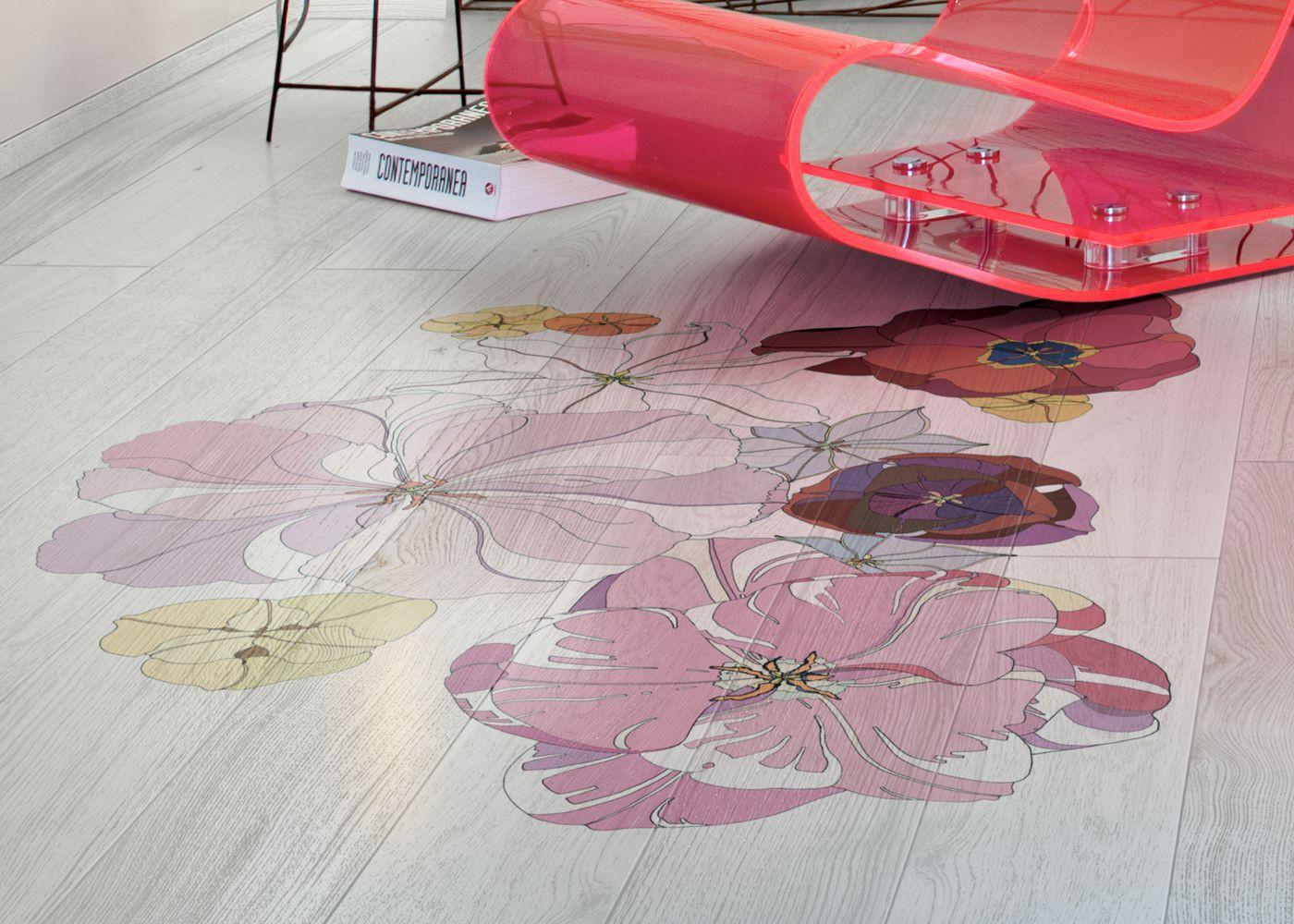 Parquet Contrecollé Panneau Decoratif Chêne G4 PR Bis Contemporain Vernis Brossé Mat Teinte Blanche (sw)- Design Tulipae Gemini 4 (van Der Hist )- Pefc - Fsc- Format 1000/ 1700mm