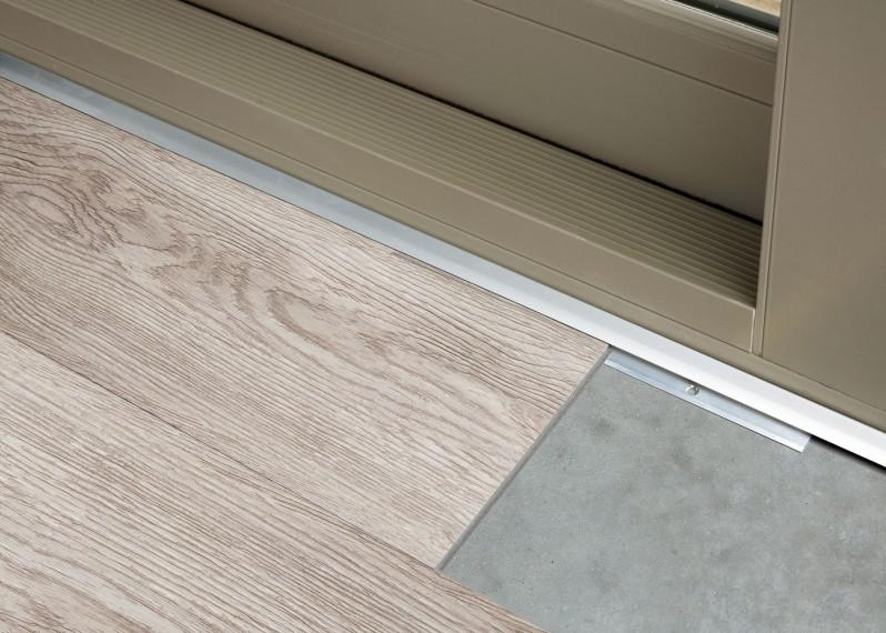 """Profil"""" d'arrêt pour sol vinyle LVT, support aluminium , couleur argent, bronze ou champagne"""