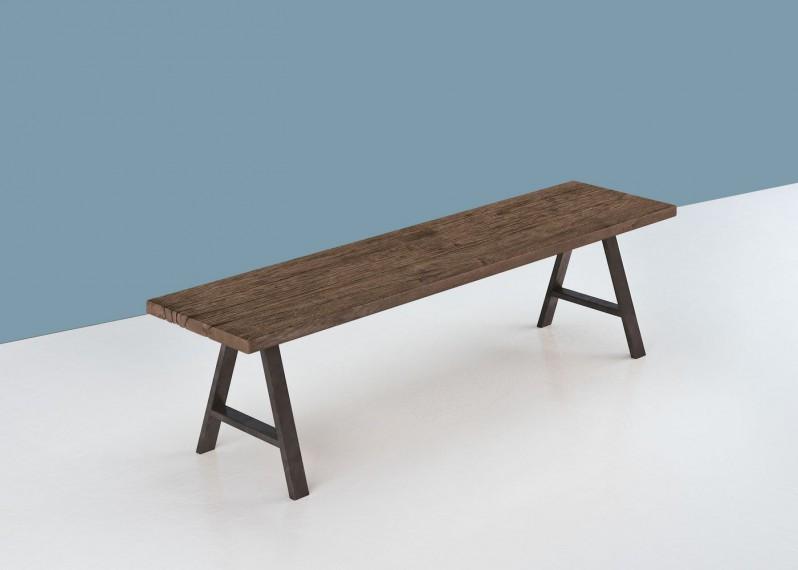 Banc en bois ANVERS à partir de vieux fond de wagon chêne non raboté brut - longueur max 2700mm