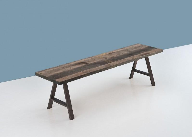 Banc en bois BADEN à partir de vieux fond de wagon chêne non raboté brut lisse, avec touches de peinture - longueur max 2600mm