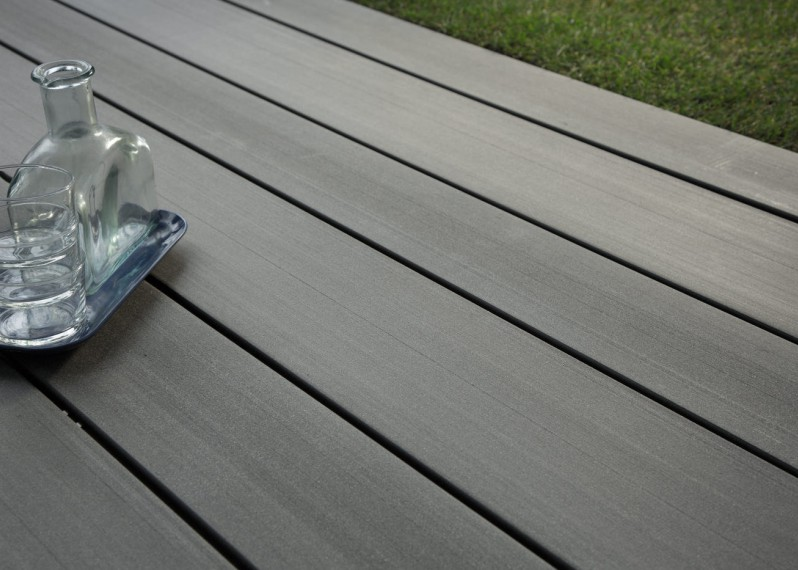 Lame Terrasse Bois Composite Teinte Gris Anthracite Lisse Fixation Invisible - 23/180/4000