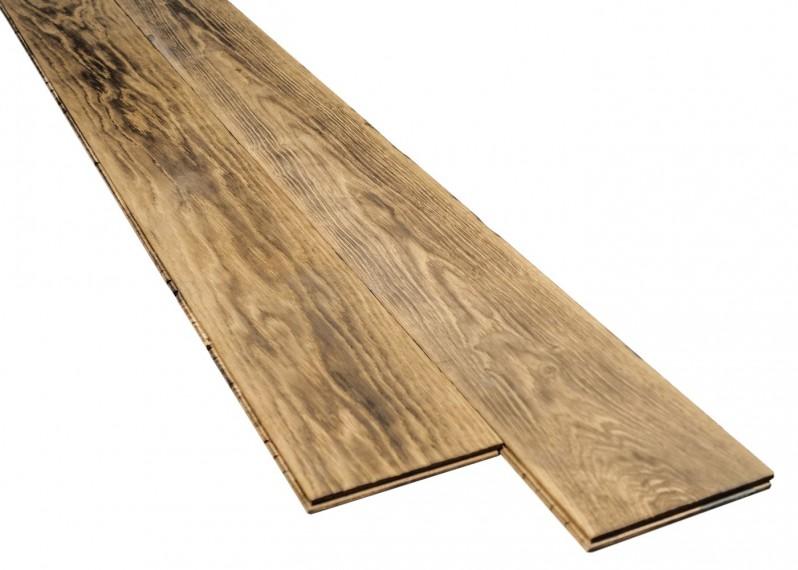 Lot parquet contrecollé chêne vieilli teinte réactive huilé 15x540x2400 28m2