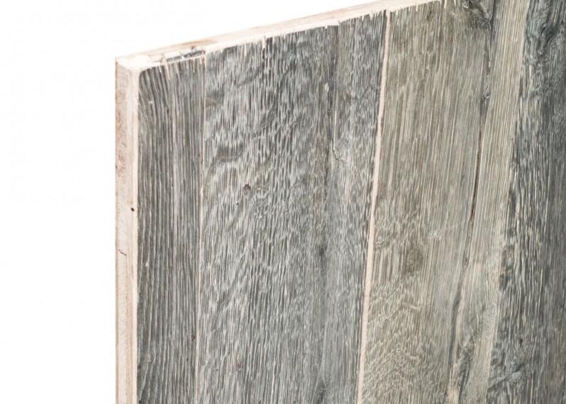 Panneau 3 plis bois us campagne vieilli gris brut - 2 faces plaquees - fsc