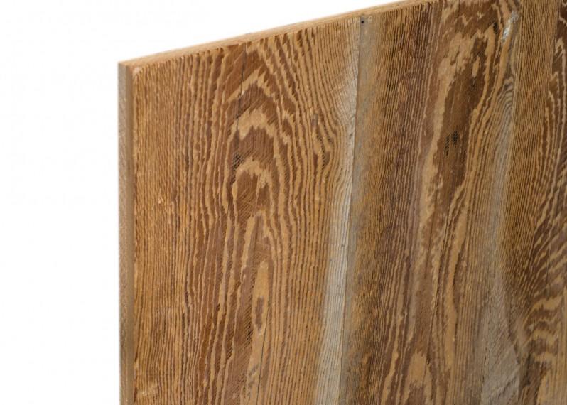 Panneau 3 plis bois us campagne vieilli marron brossé brut - 1 face plaquée - fsc