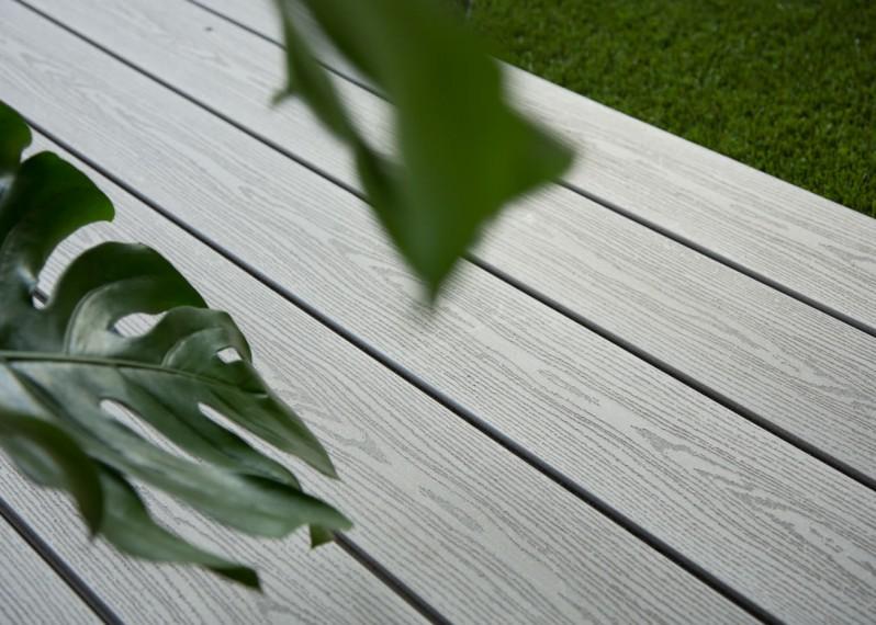 Lame Terrasse Bois Composite Teinte Gris Iroise Structuré Fixation Invisible - 23/180/4000