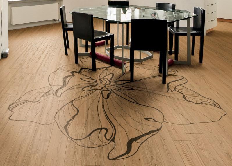 Parquet Contrecollé Panneau Decoratif Chêne G4 PR Bis Contemporain Vernis Brossé Mat Teinte Naturelle (b5)- Design Tulipae Maior - (van Der Hilst )- Pefc - Fsc - Format 1440/1420mm