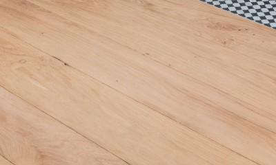 Plancher Massif Chêne Rives Abimées Campagne Vieux Fond De Wagon Initial Brut