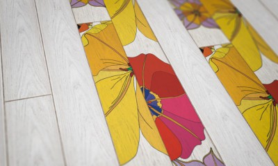 Parquet Contrecollé Monolame Chêne G4 PR Bis Contemporain Vernis Brossé Mat Teinte Blanche (sw)- Design Tulipae Gemini 2 (van Der Hist )- Pefc - Fsc