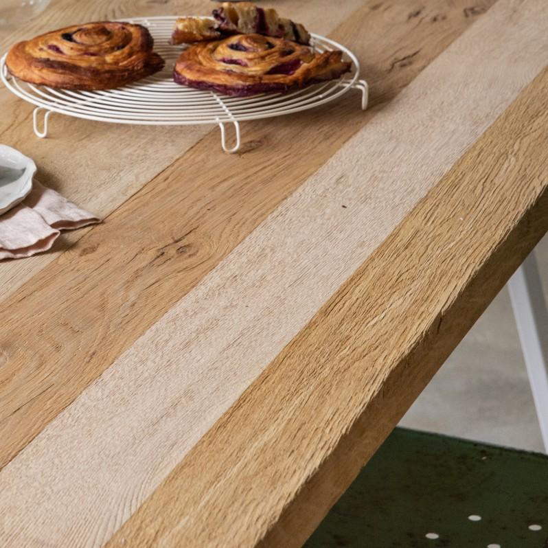 Plateau de table AMSTERDAM à partir de chêne ancien naturel brossé brut - (longueur max 3500m)